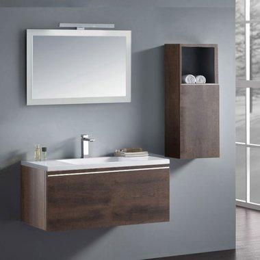 Badkamermeubelset wastafelmeubel incl. spiegel 100x45x48cm Donker eiken - Milano ME-1000 STONEART