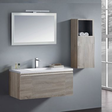 Badkamermeubelset wastafelmeubel incl. spiegel 100x45x48cm licht eiken - Milano ME-1000 STONEART