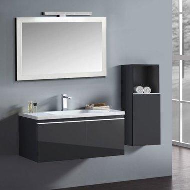 Badkamermeubelset wastafelmeubel incl. spiegel 100x45x48cm Donker grijs - Milano ME-1000-1 STONEART