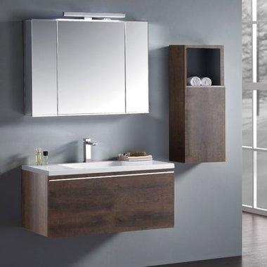 Badkamermeubelset wastafelmeubel incl. spiegel 100x45x48cm Donker eiken - Milano ME-1000-1 STONEART