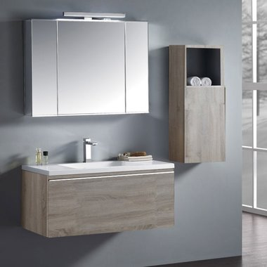 Badkamermeubelset wastafelmeubel incl. spiegel 100x45x48cm licht eiken - Milano ME-1000-1 STONEART