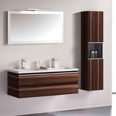 Badkamermeubelset wastafelmeubel incl. spiegel 120x45x48cm Bruin - Milano ME-1200 STONEART