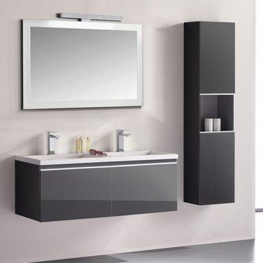 Badkamermeubelset wastafelmeubel incl. spiegel 120x45x48cm Donker grijs - Milano ME-1200 STONEART