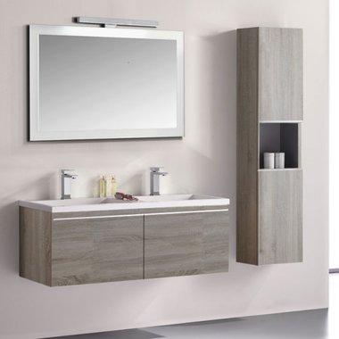 Badkamermeubelset wastafelmeubel incl. spiegel 120x45x48cm licht eiken - Milano ME-1200 STONEART