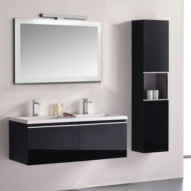 Badkamermeubelset wastafelmeubel incl. spiegel 120x45x48cm Zwart - Milano ME-1200 STONEART