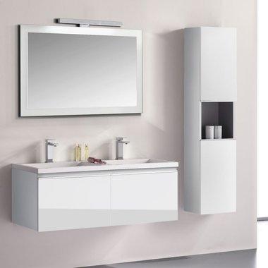Badkamermeubelset wastafelmeubel incl. spiegel 120x45x48cm Wit - Milano ME-1200 STONEART