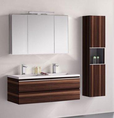 Badkamermeubelset wastafelmeubel incl. spiegel 120x45x48cm Bruin - Milano ME-1200-1 STONEART