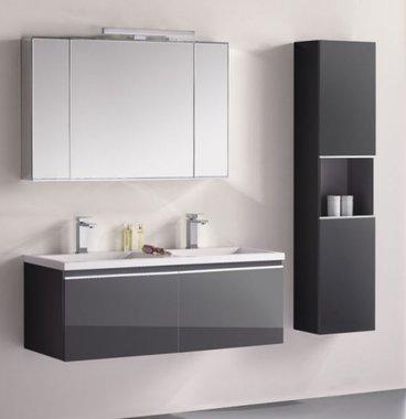 Badkamermeubelset wastafelmeubel incl. spiegel 120x45x48cm Donker grijs - Milano ME-1200-1 STONEART