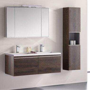 Badkamermeubelset wastafelmeubel incl. spiegel 120x45x48cm donker eiken - Milano ME-1200pro-2 STONEART