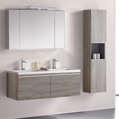 Badkamermeubelset wastafelmeubel incl. spiegel 120x45x48cm licht eiken - Milano ME-1200-1 STONEART