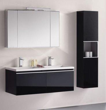 Badkamermeubelset wastafelmeubel incl. spiegel 120x45x48cm Zwart - Milano ME-1200-1 STONEART