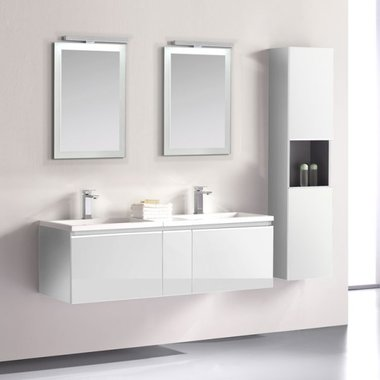 Badkamermeubelset wastafelmeubel incl. spiegel 140x45x48cm Wit - Milano ME-1400 STONEART
