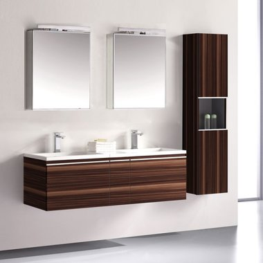 Badkamermeubelset wastafelmeubel incl. spiegel 140x45x48cm Bruin - Milano ME-1400 STONEART