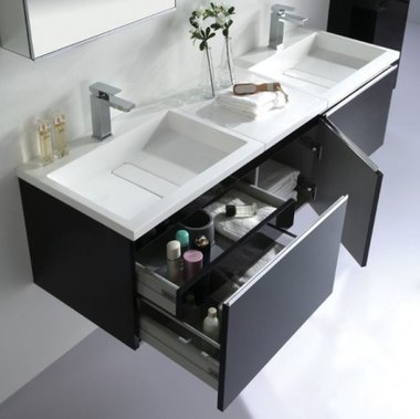 Badkamermeubelset wastafelmeubel incl. spiegel 140x45x48cm Donker grijs - Milano ME-1400-1 STONEART