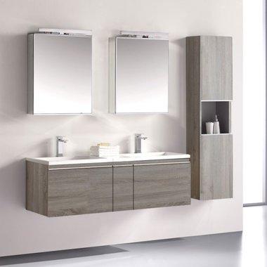 Badkamermeubelset wastafelmeubel incl. spiegel 140x45x48cm licht eiken - Milano ME-1400-1 STONEART