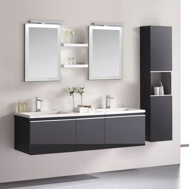 Badkamermeubelset wastafelmeubel incl. spiegel 160x45x48cm Donker grijs - Milano ME-1600 STONEART