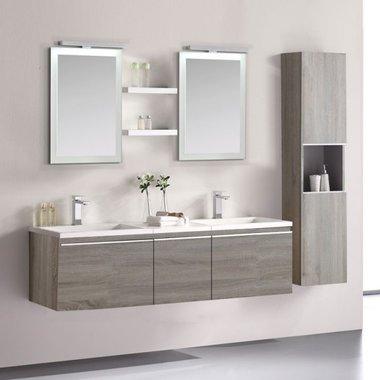 Badkamermeubelset wastafelmeubel incl. spiegel 160x45x48cm licht eiken - Milano ME-1600 STONEART