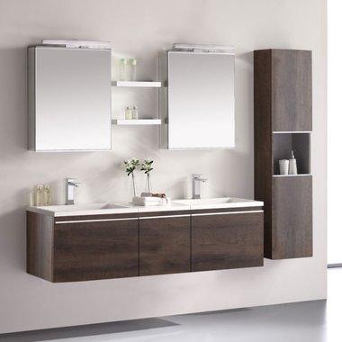 Badkamermeubelset wastafelmeubel incl. spiegel 160x45x48cm Donker eiken - Milano ME-1600-1 STONEART