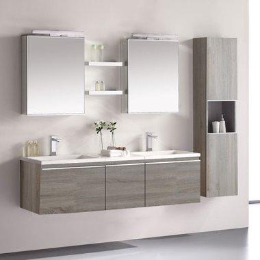 Badkamermeubelset wastafelmeubel incl. spiegel 160x45x48cm licht eiken - Milano ME-1600-1 STONEART