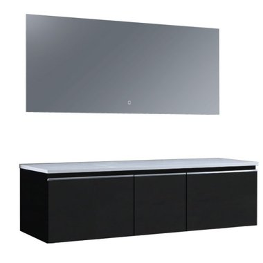 Badkamermeubelset wastafelmeubel incl. spiegel 160x45x48cm Donker grijs - Milano ME-1600pro STONEART