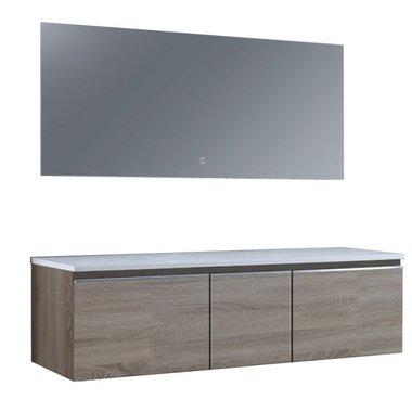 Badkamermeubelset wastafelmeubel incl. spiegel 160x45x48cm licht eiken - Milano ME-1600pro STONEART