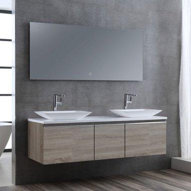Badkamermeubelset wastafelmeubel incl. spiegel 160x45x48cm licht eiken - Milano ME-1600pro-1 STONEART