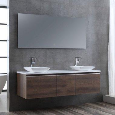 Badkamermeubelset wastafelmeubel incl. spiegel 160x45x48cm Donker eiken - Milano ME-1600pro-2 STONEART