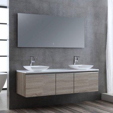 Badkamermeubelset wastafelmeubel incl. spiegel 160x45x48cm licht eiken - Milano ME-1600pro-2 STONEART