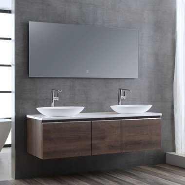 Badkamermeubelset wastafelmeubel incl. spiegel 160x45x48cm Donker eiken - Milano ME-1600pro-3 STONEART
