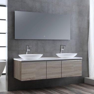 Badkamermeubelset wastafelmeubel incl. spiegel 160x45x48cm licht eiken - Milano ME-1600pro-3 STONEART