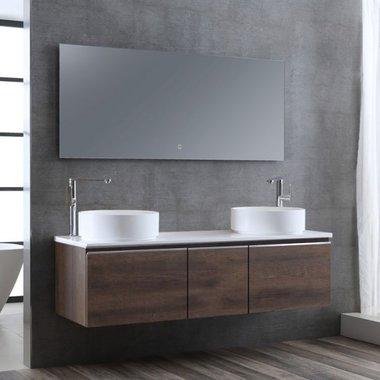 Badkamermeubelset wastafelmeubel incl. spiegel 160x45x48cm licht eiken - Milano ME-1600pro-4 STONEART