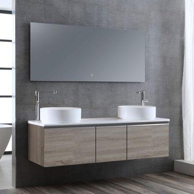 Badkamermeubelset wastafelmeubel incl. spiegel 160x45x48cm licht eiken - Milano ME-1600pro-6 STONEART