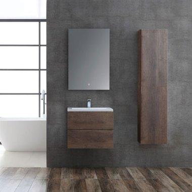 Badmeubelset donker eiken houtkleur 60cm inclusief wastafel en LED badkamerspiegel - San Marino SA-0605 Eago