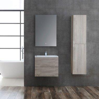 Badkamermeubelset houtkleur licht eiken 60cm breed incl. spiegel - San Marino SA-0605 StoneArt