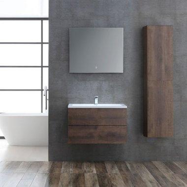 Badkamermeubelset houtkleur donker eiken 80cm breed incl. spiegel - San Marino SA-0805 StoneArt