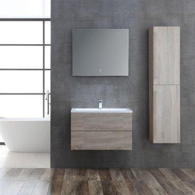 Badkamermeubelset houtkleur licht eiken 80cm breed incl. spiegel - San Marino SA-0805 StoneArt