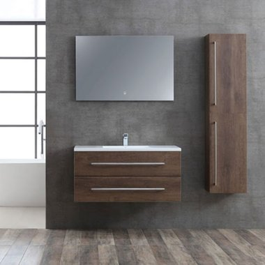 Badmeubelset donker eiken houtkleur 100cm inclusief wastafel en LED badkamerspiegel - San Marino SA-1000 Eago