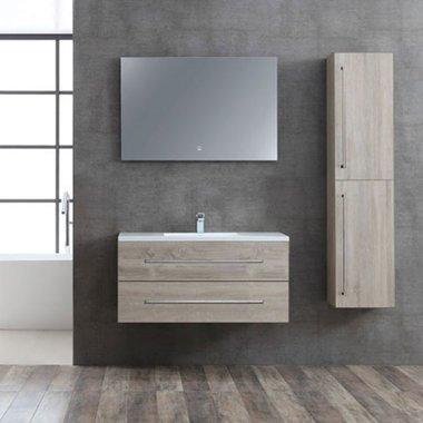 Badkamermeubelset houtkleur licht eiken 100cm breed incl. spiegel - San Marino SA-1000 StoneArt