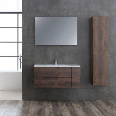 Badkamermeubelset houtkleur donker eiken 100cm breed incl. spiegel - San Marino SA-1015 StoneArt