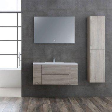 Badkamermeubelset houtkleur licht eiken 100cm breed incl. spiegel - San Marino SA-1015 StoneArt