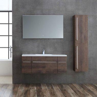 Badkamermeubelset houtkleur donker eiken 120cm breed incl. spiegel - San Marino SA-1210 StoneArt
