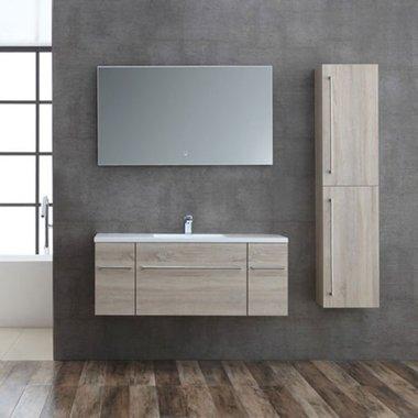Badkamermeubelset houtkleur licht eiken 120cm breed incl. spiegel - San Marino SA-1210 StoneArt