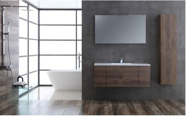 Badkamermeubelset houtkleur donker eiken 120cm breed incl. spiegel - San Marino SA-1215 StoneArt