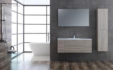 Badkamermeubelset houtkleur licht eiken 120cm breed incl. spiegel - San Marino SA-1215 StoneArt