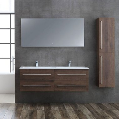 Badkamermeubelset houtkleur donker eiken 150cm breed incl. spiegel - San Marino SA-1500 StoneArt
