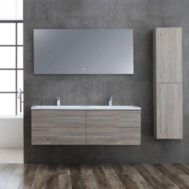 Badmeubelset licht eiken houtkleur 150cm inclusief wastafel en LED badkamerspiegel - San Marino SA-1500 Eago