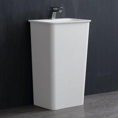 Vrijstaande wastafelzuil 52x42cm mat wit mineraal gegoten - LZ502 StoneArt