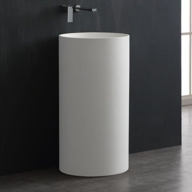 Vrijstaande wastafelzuil rond 45x45cm glanzend wit mineraal gegoten - LC508 StoneArt