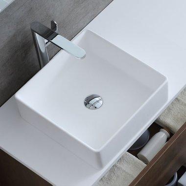 Waskom vierkant 40x40cm glanzend wit mineraal gegoten - LC110 StoneArt