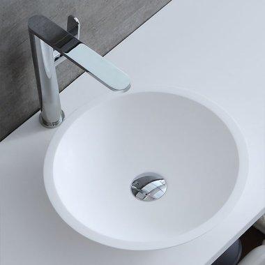 Waskom rond 38x38cm glanzend wit mineraal gegoten - LC116 StoneArt